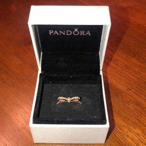 Pandora Rose Sparkling Bow Ring